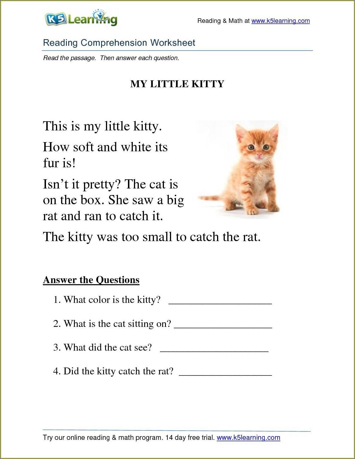 Worksheet In Reading For Grade 1