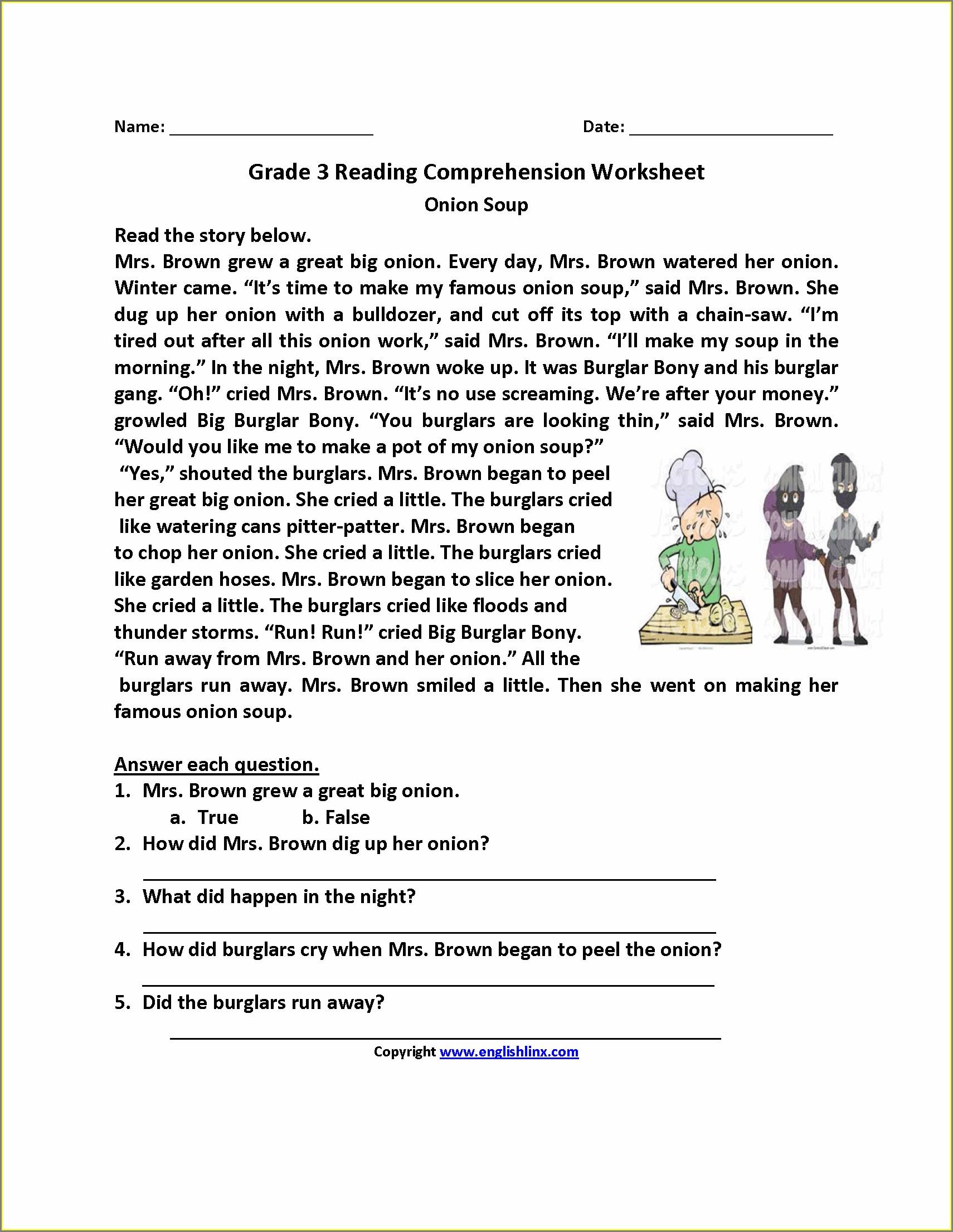 Worksheet In Reading For Grade 3