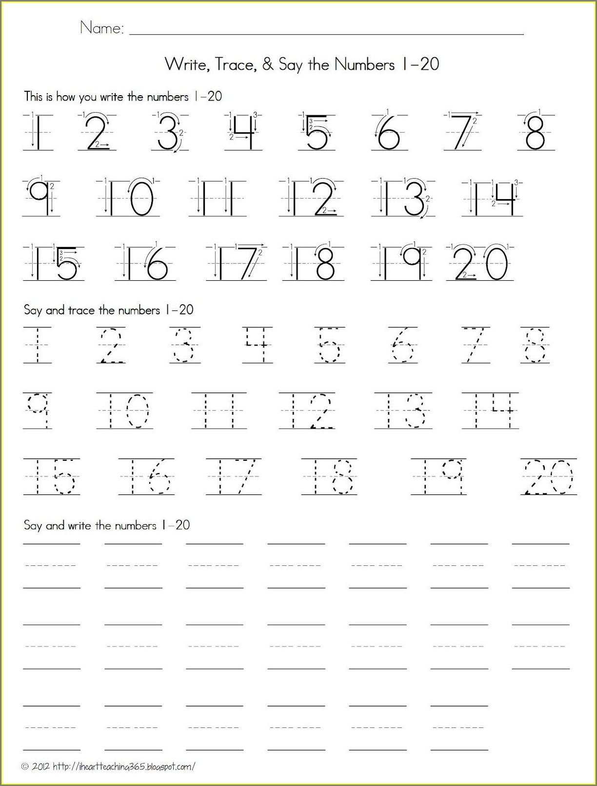 Worksheet Numbers 1 To 20