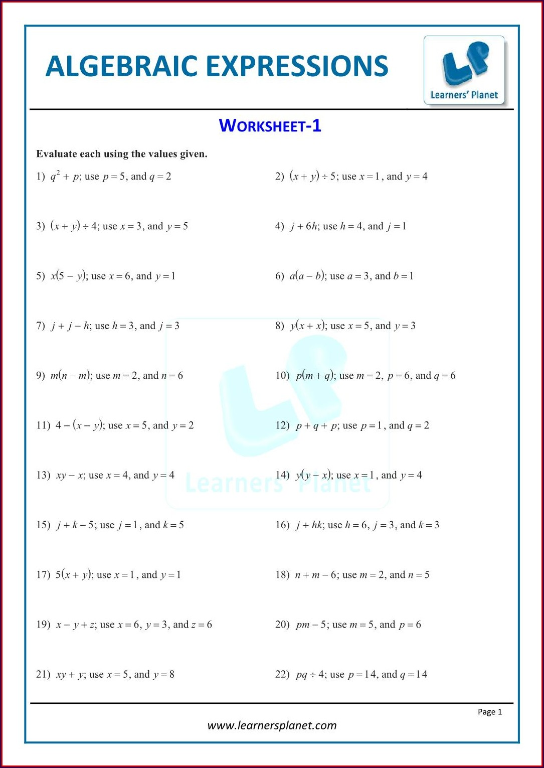 Worksheet On Algebraic Expressions For Class 6