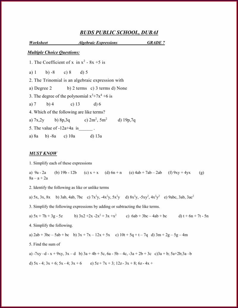 Worksheet On Algebraic Expressions For Grade 8