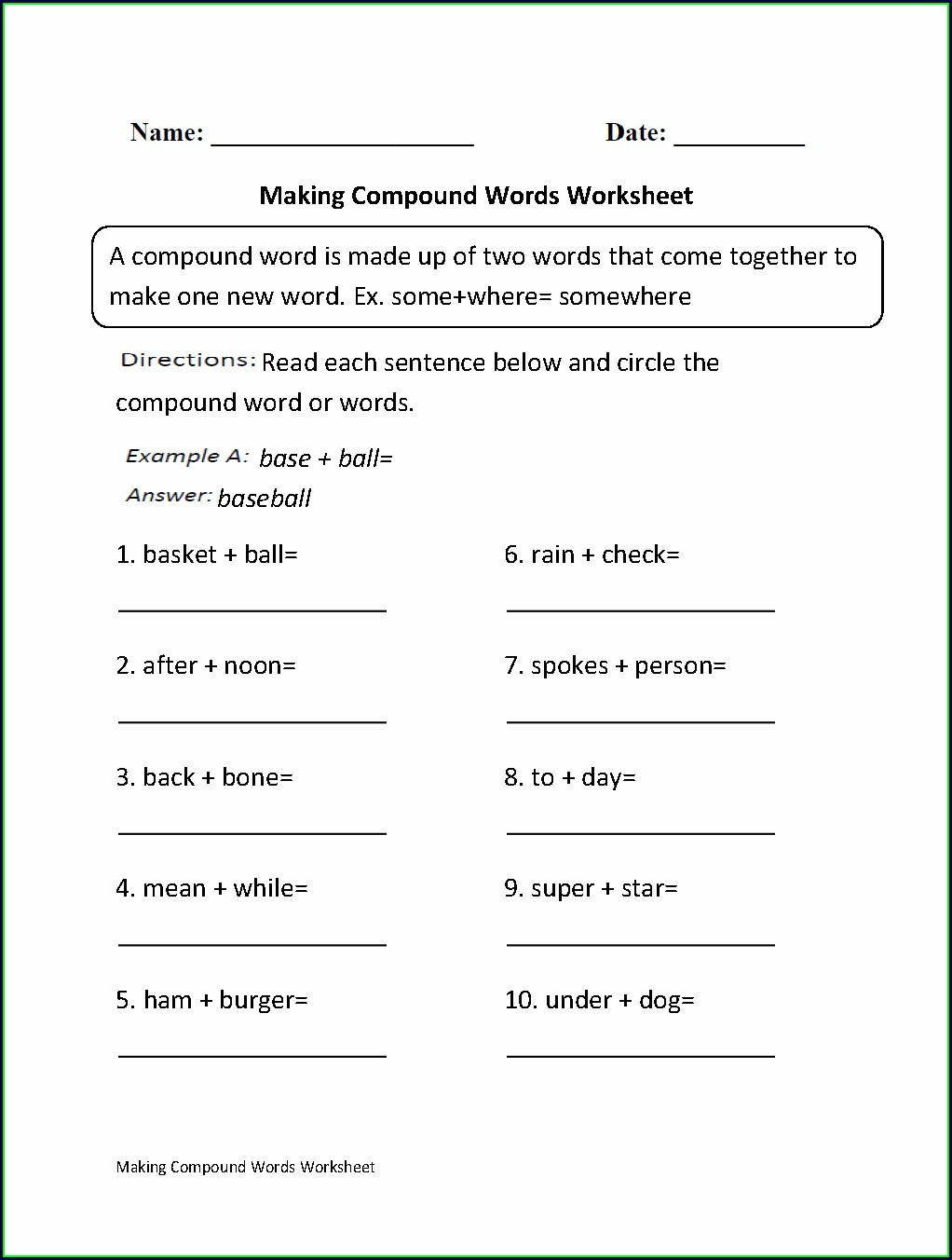 Worksheet On Compound Words For Class 3