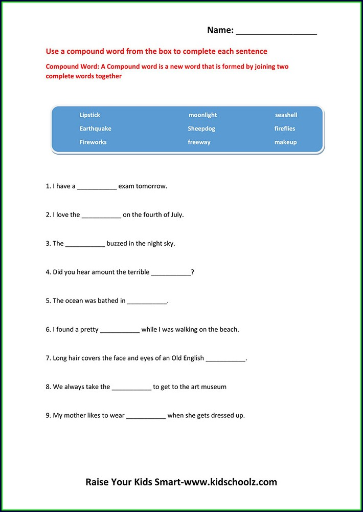 Worksheet On Compound Words For Grade 4