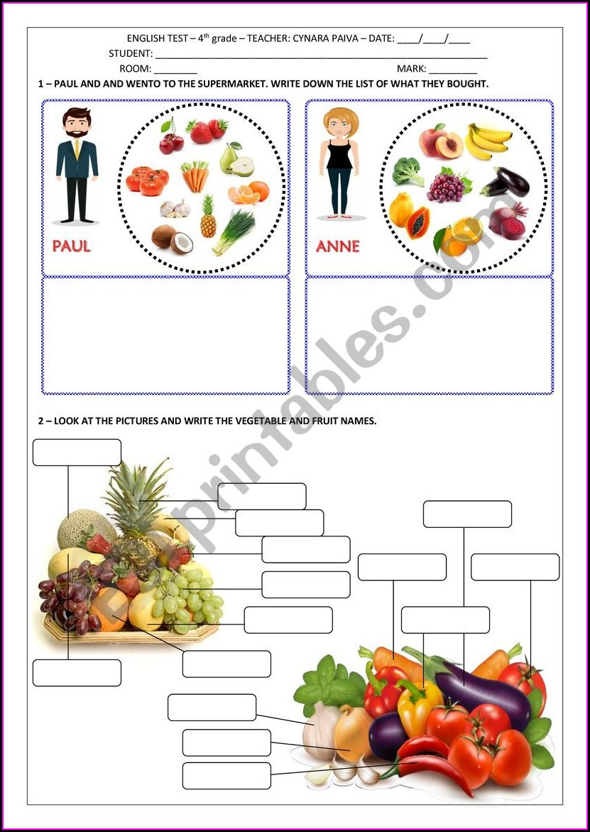 Worksheet On Food For Grade 2