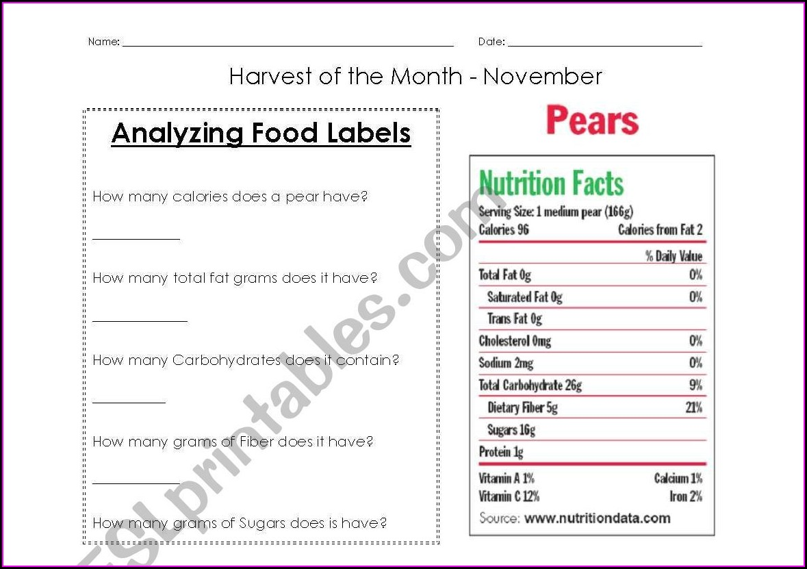 Worksheet On Food Labels