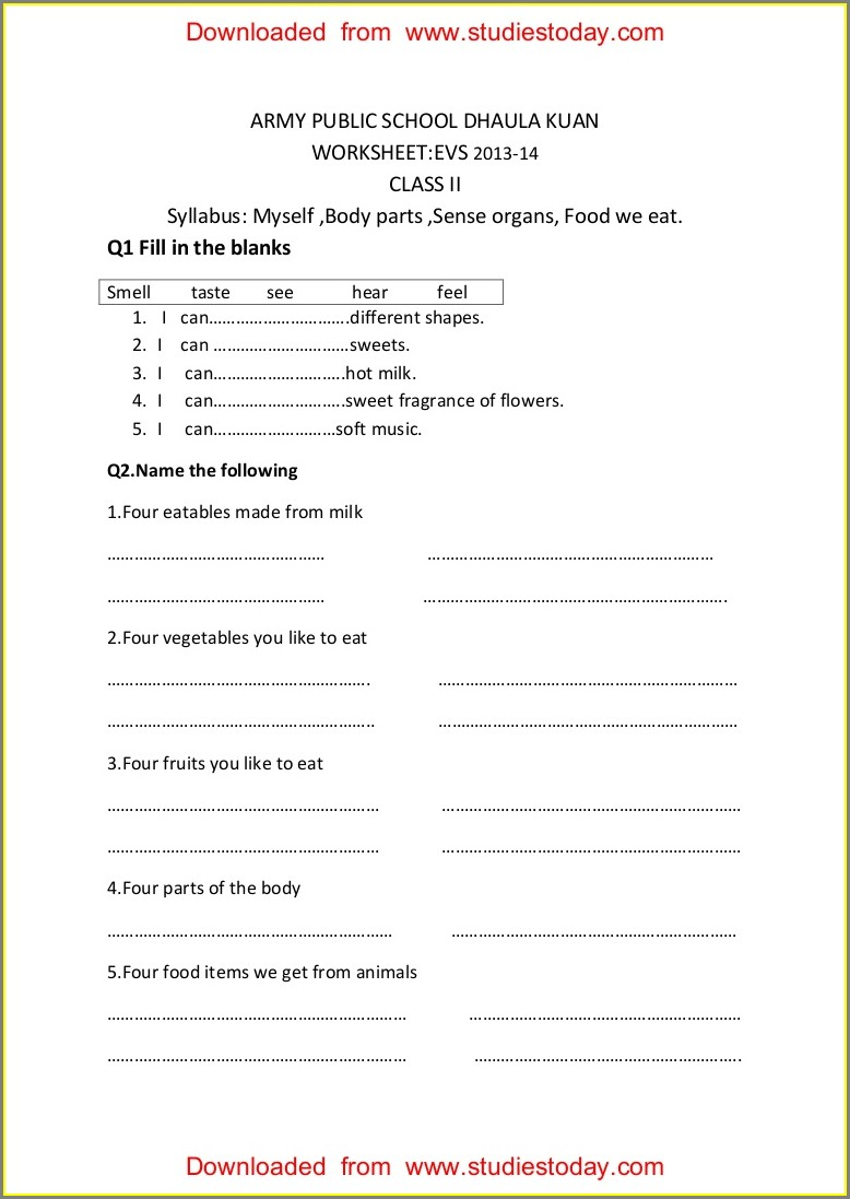 Worksheet On Food We Eat For Class 1