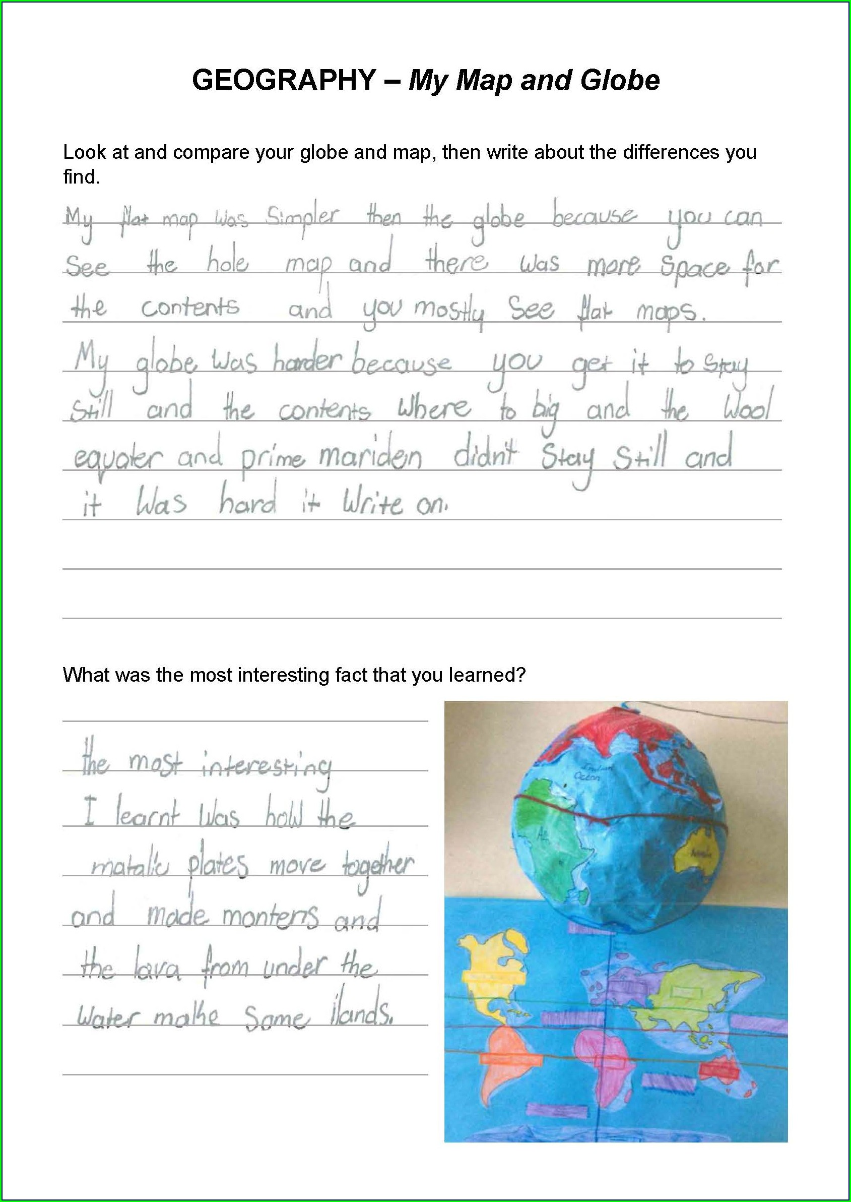 Worksheet On Globes And Map