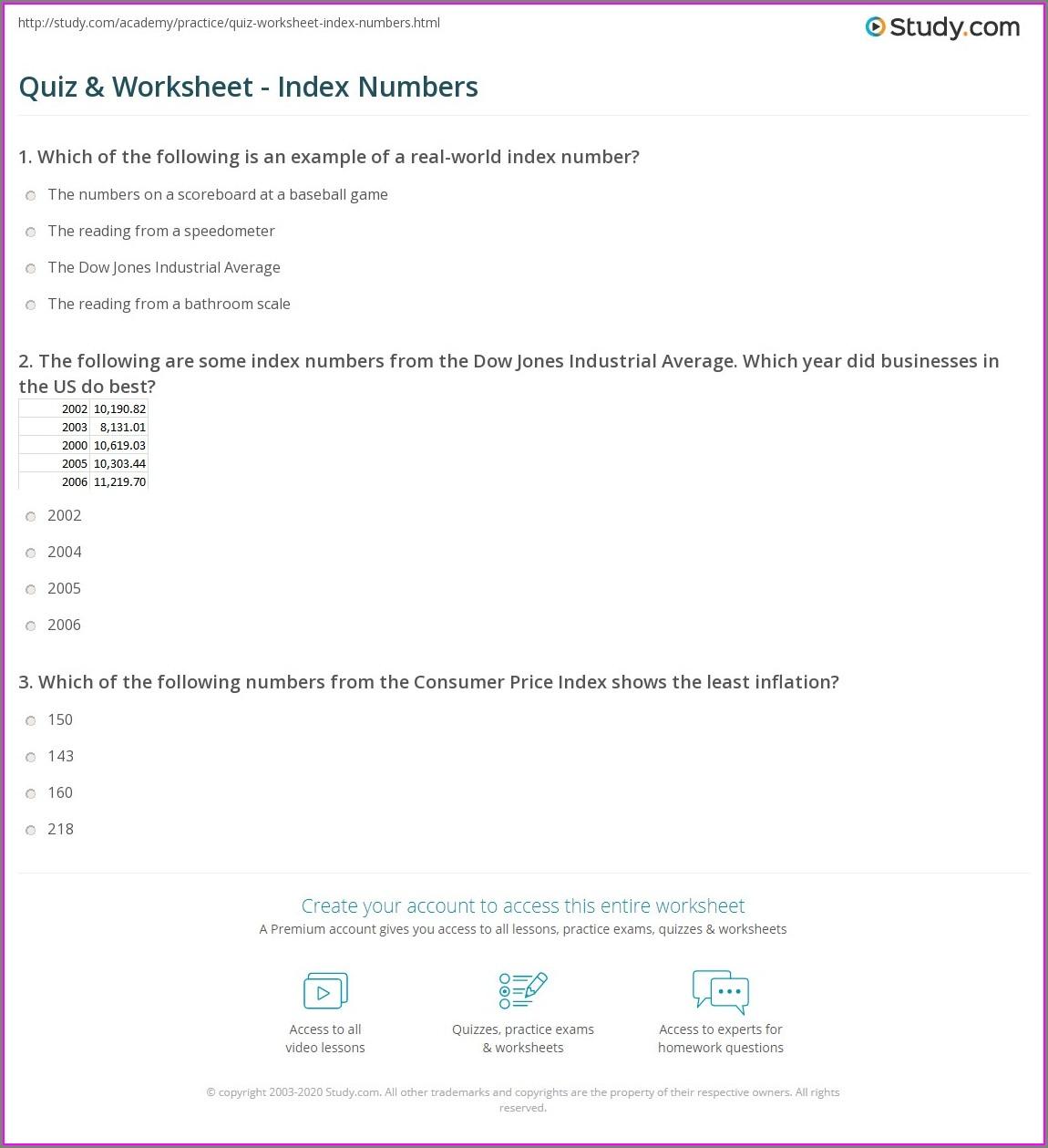 Worksheet On Index Numbers