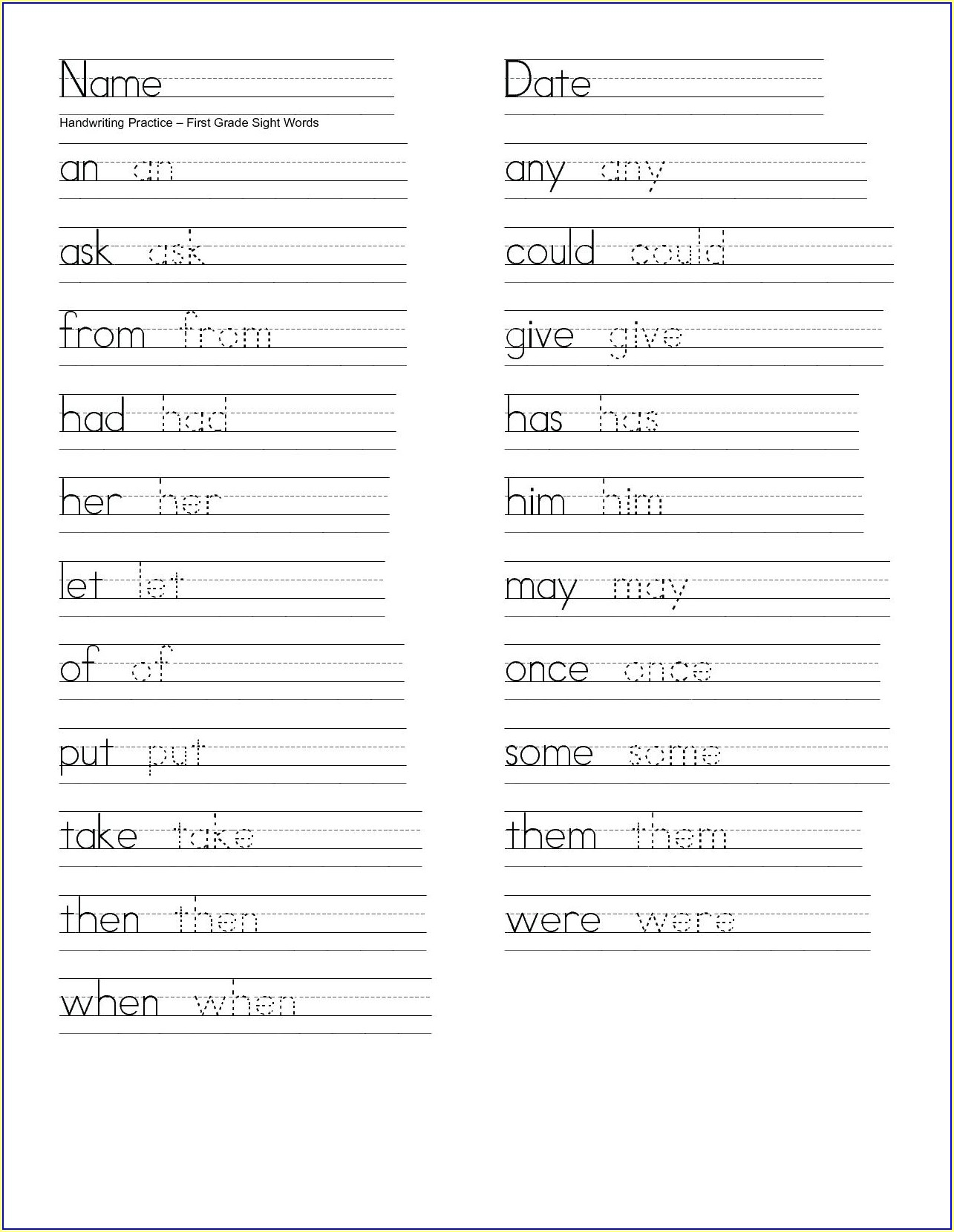 Worksheet On Name Writing