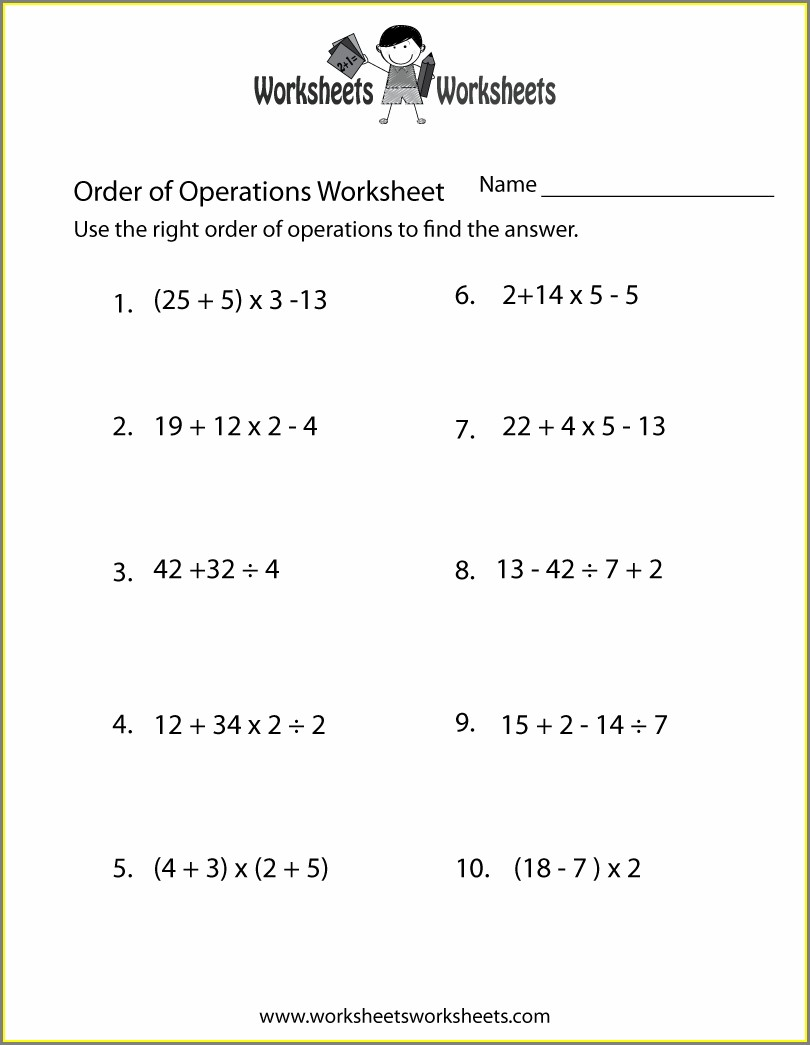 Worksheet On Order Of Operations For 6th Grade