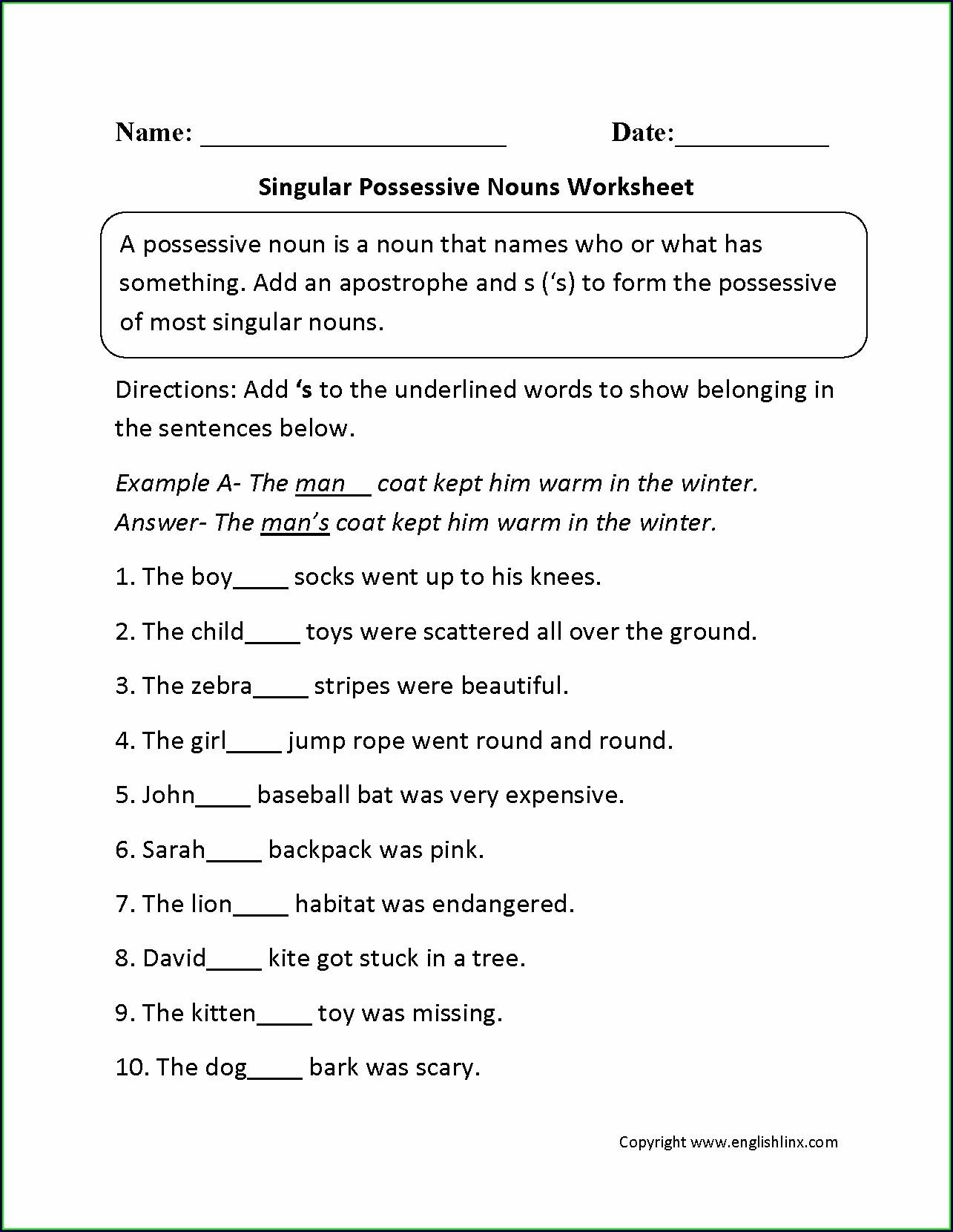 Worksheet On Possessive Pronouns For Grade 2