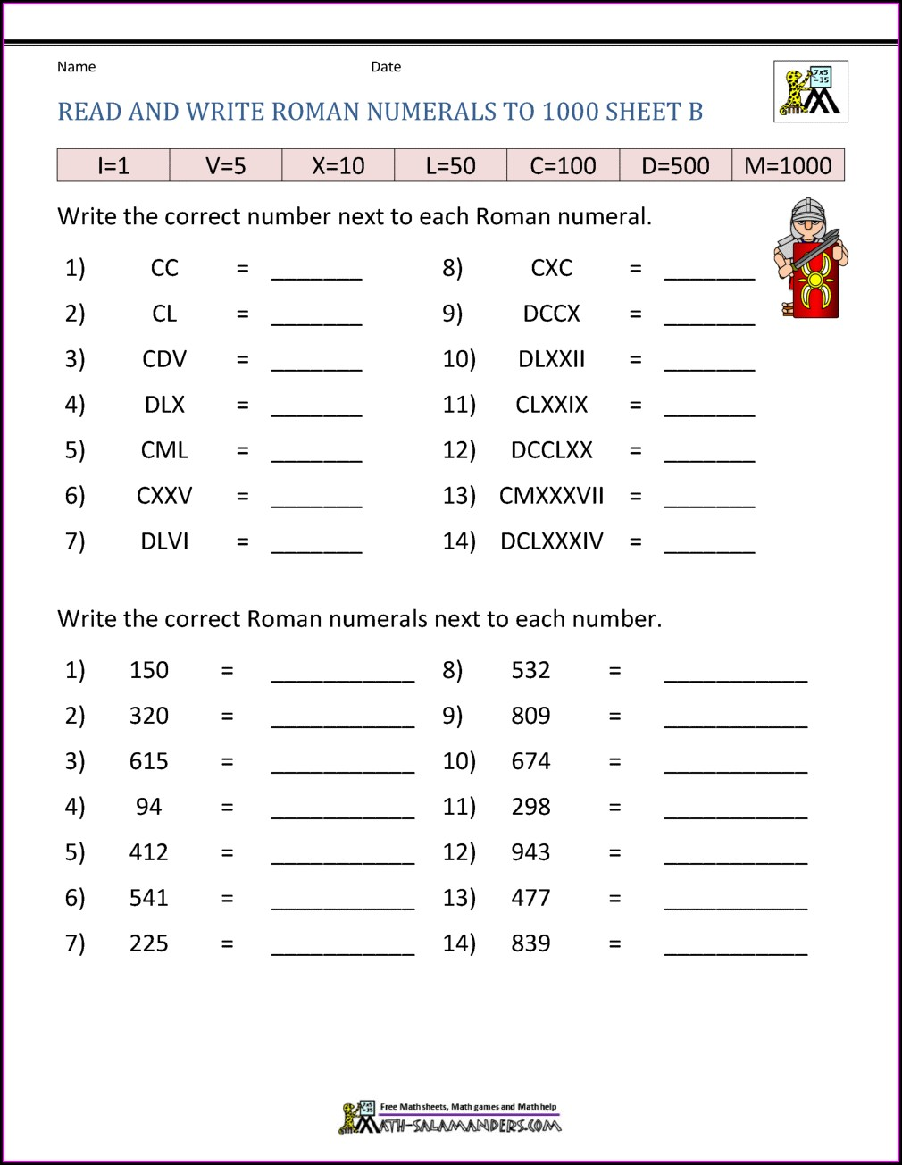 Worksheet On Roman Numerals For Class 3