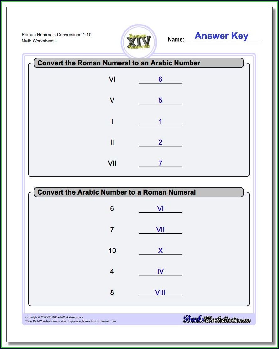 Worksheet On Roman Numerals Pdf
