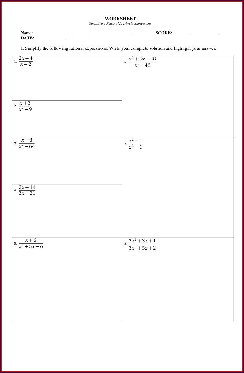 Worksheet On Simplifying Algebraic Expressions