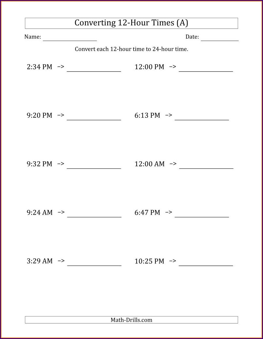 Worksheet On Time Conversion