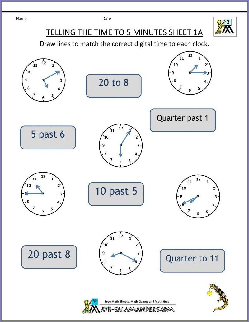 Worksheet Time Grade 2