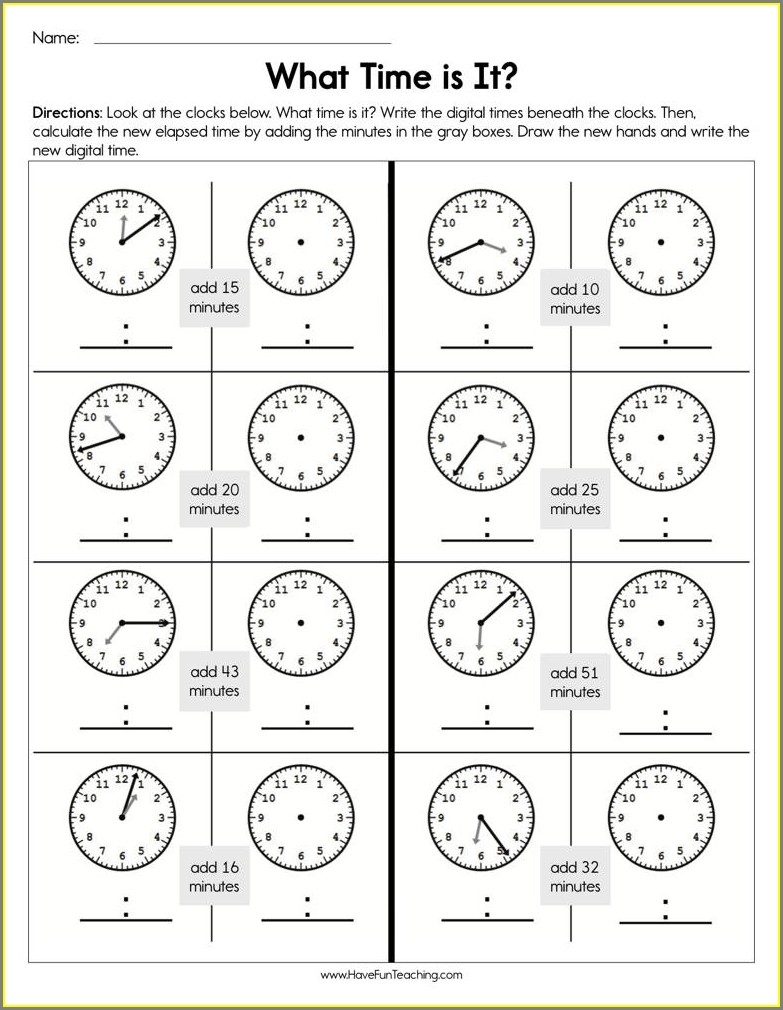 Worksheet What Time Is It
