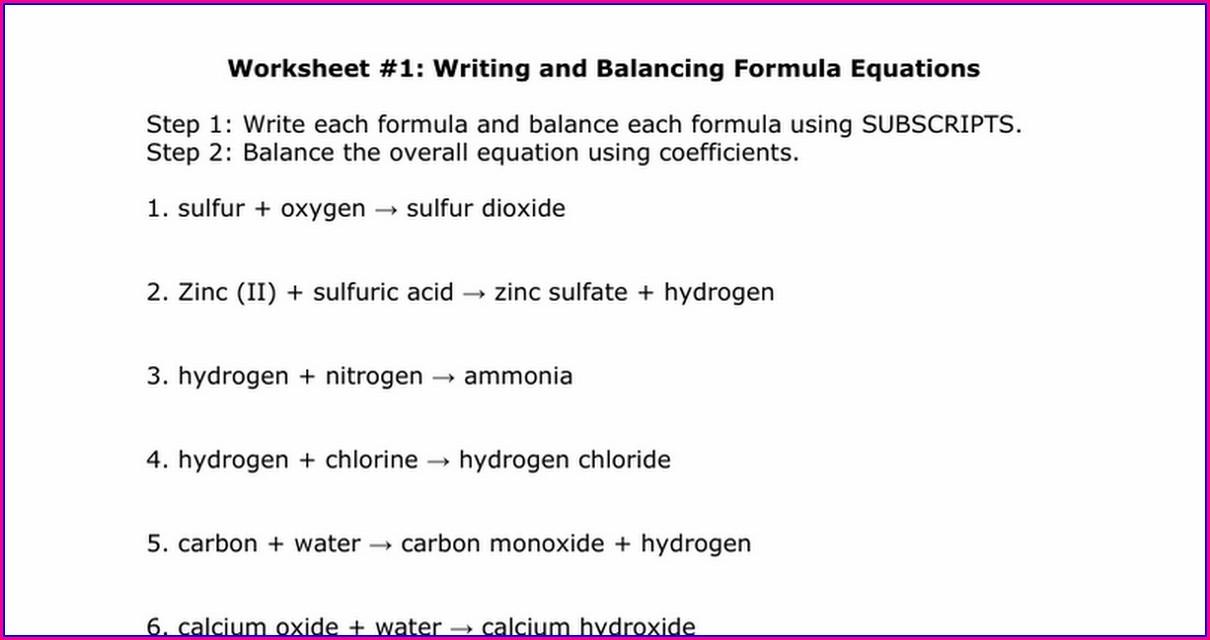 Worksheet Writing And Balancing Formula Equations