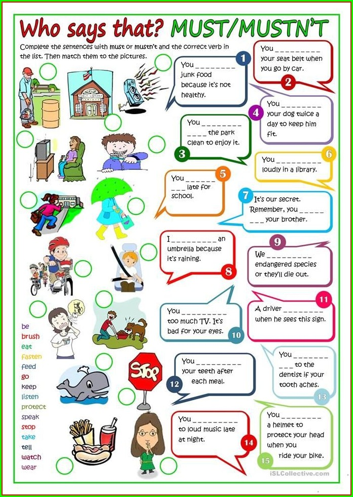 Worksheets English Modal Verbs