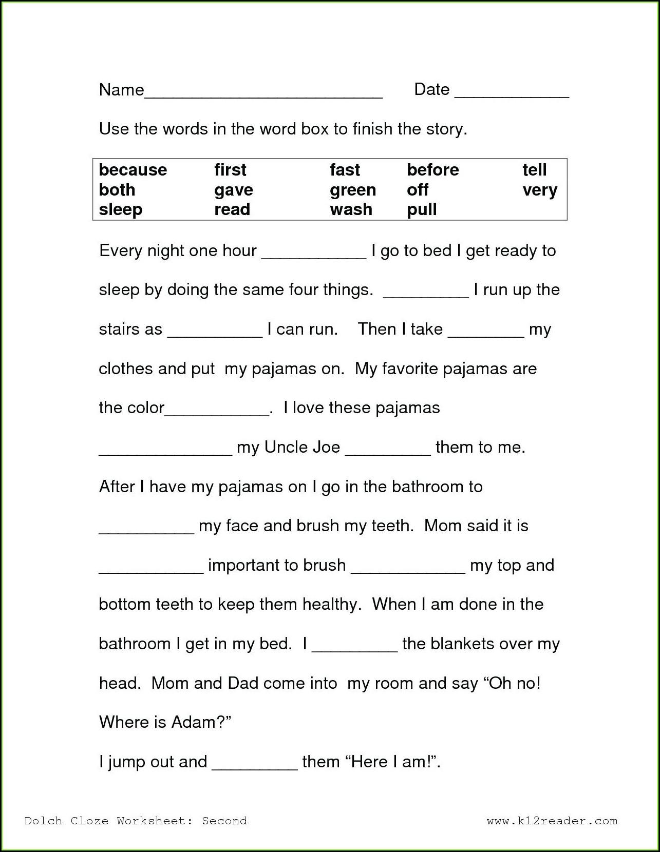 Worksheets For Reading Comprehension 1st Grade