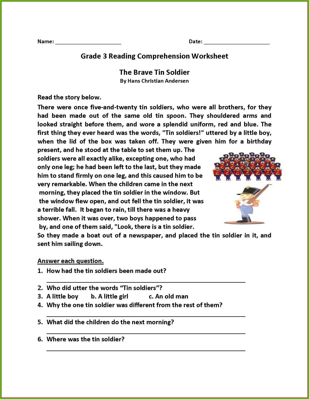 Worksheets For Reading Comprehension 3rd Grade