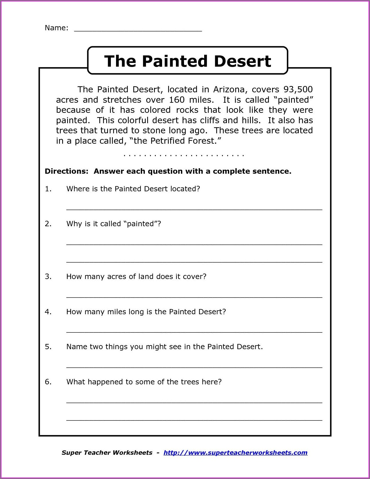 Worksheets Reading Comprehension Passages With Questions And Answers