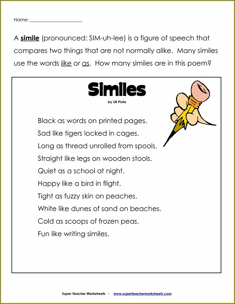 Write A Metaphor Poem Worksheet