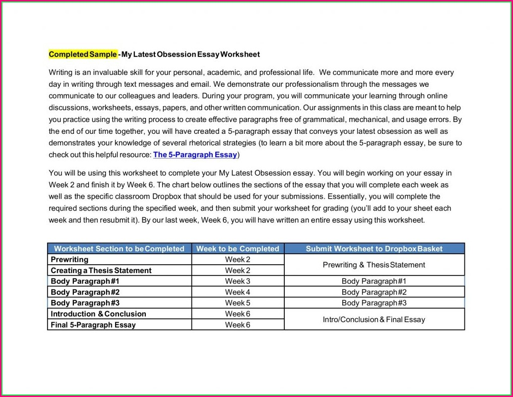 Writing A Body Paragraph Worksheet Pdf