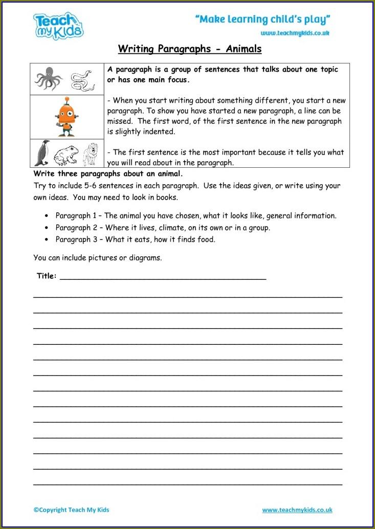 Writing A Paragraph Worksheet Pdf