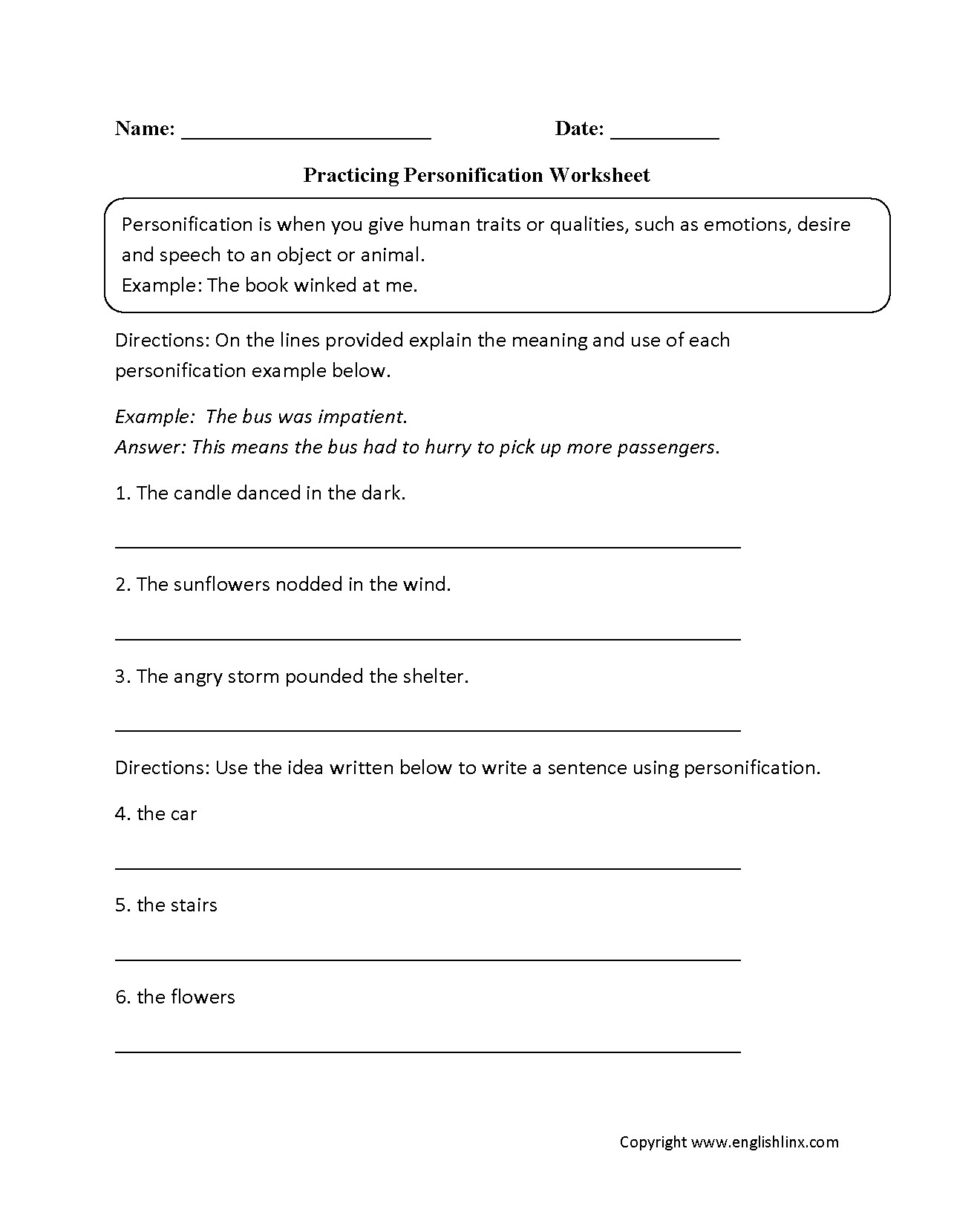 Writing A Personification Poem Worksheet