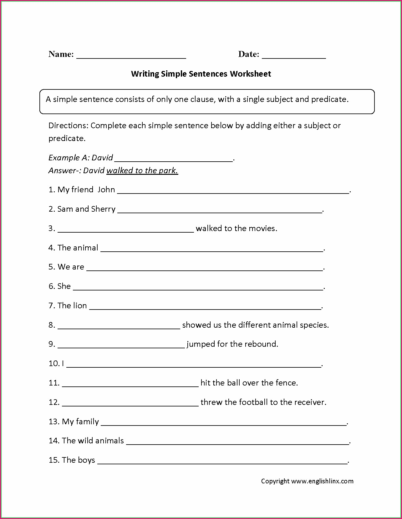Writing Complete Sentences Worksheet Pdf