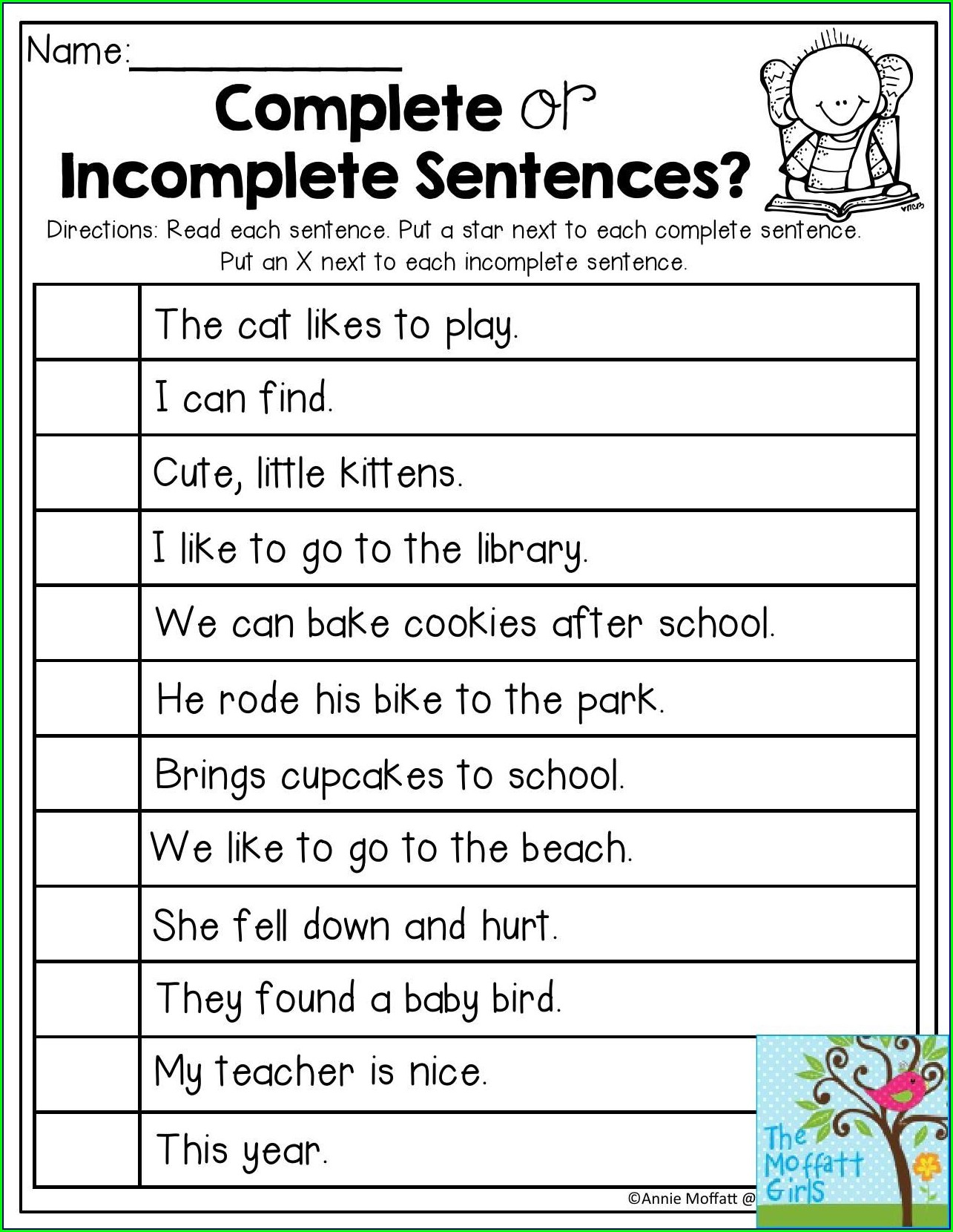 Writing Complete Sentences Worksheets For 1st Grade