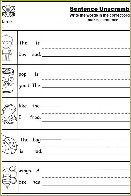 Writing Complete Sentences Worksheets Kindergarten