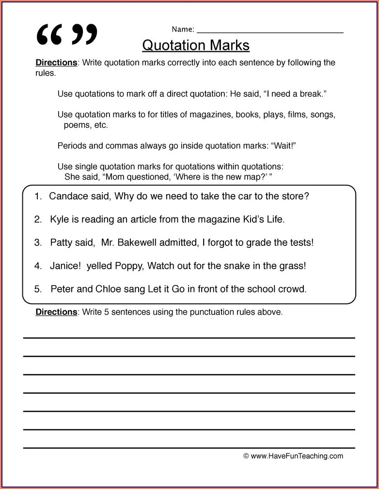 Writing Dialogue Worksheet Grade 5