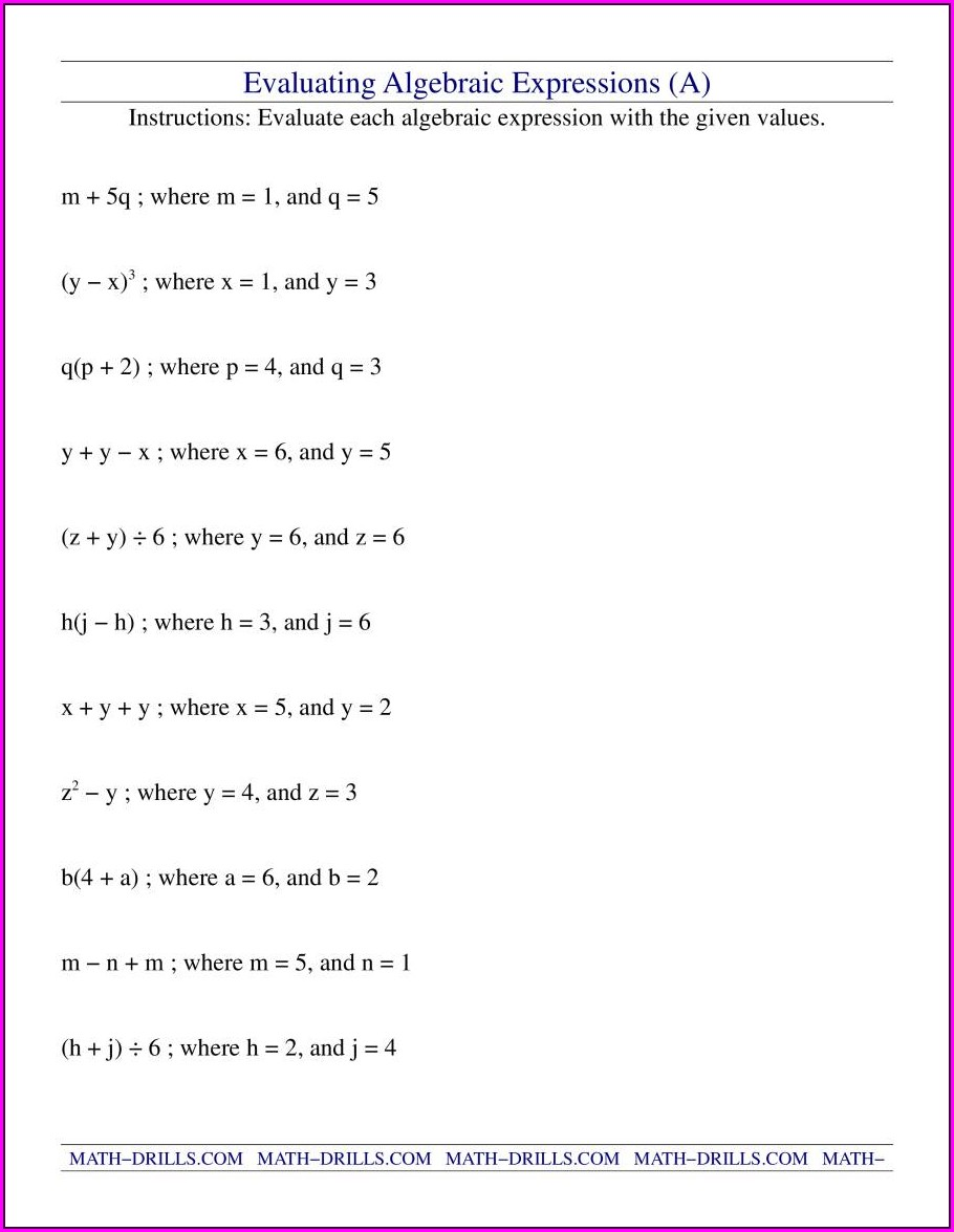 Writing Expressions Worksheet 6th Grade