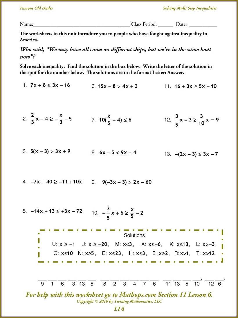 Writing Inequalities Worksheet With Answers