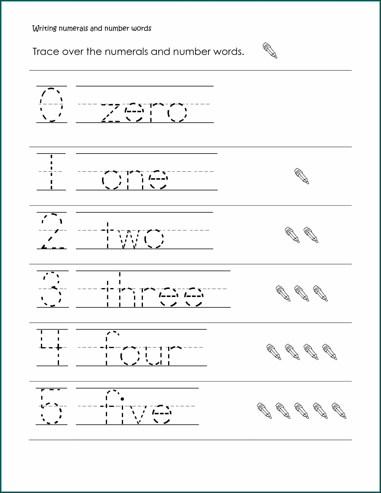 Writing Number Words Worksheets First Grade