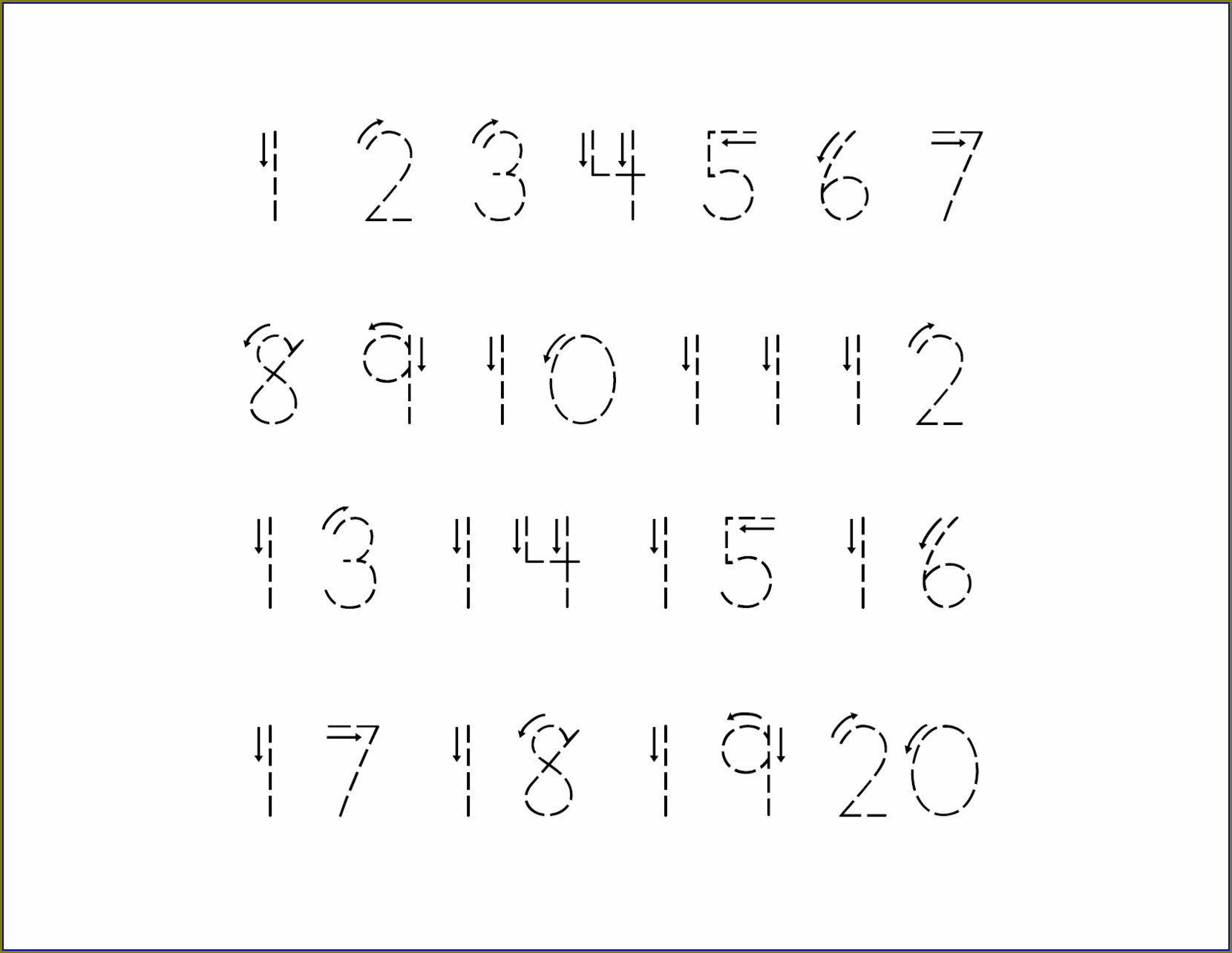 Writing Numbers 1 20 Worksheets For Kindergarten