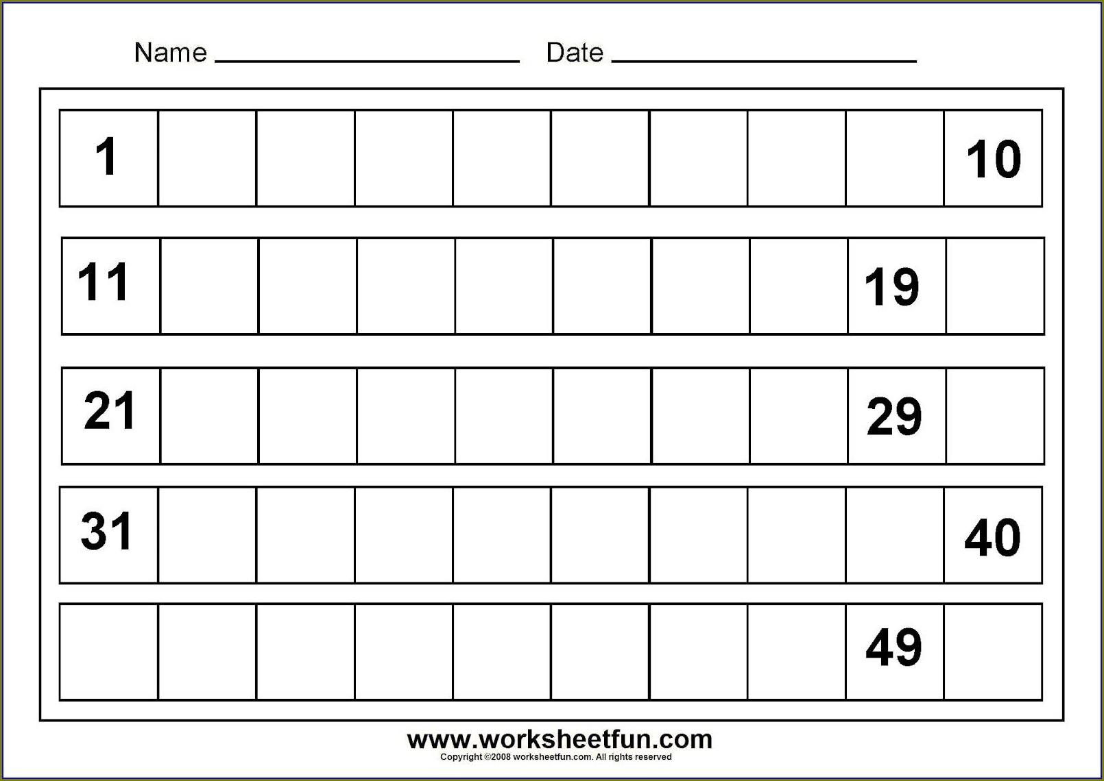 Writing Numbers 1 20 Worksheets