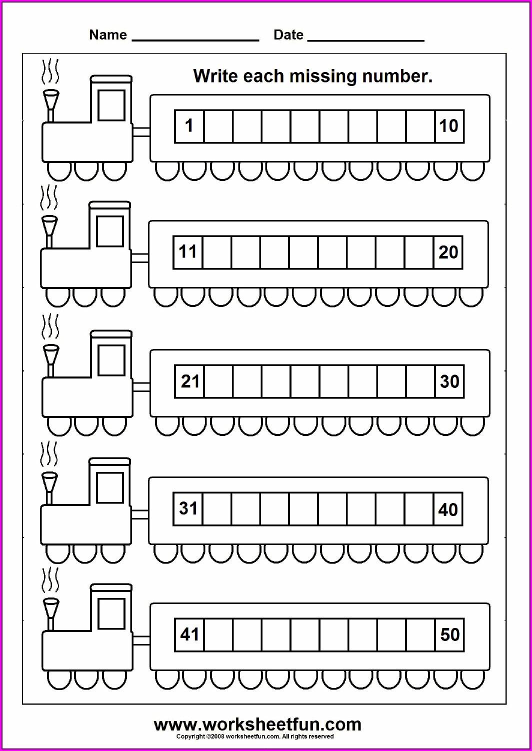 Writing Numbers 1 50 Worksheets For Kindergarten