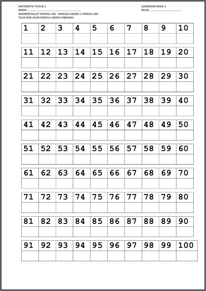 Writing Numbers From 1 To 100 Worksheet