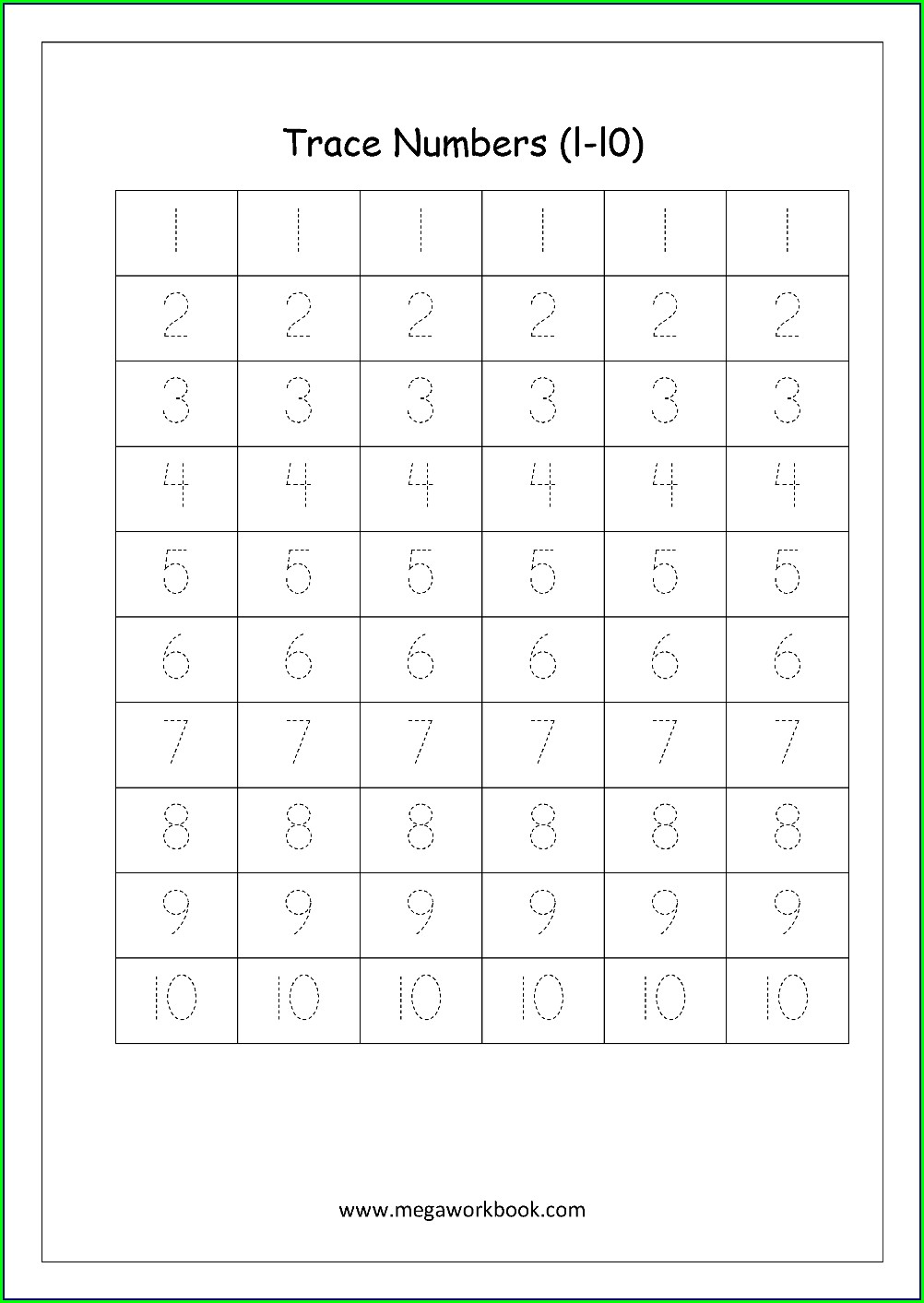 Writing Numbers One To Ten Worksheets