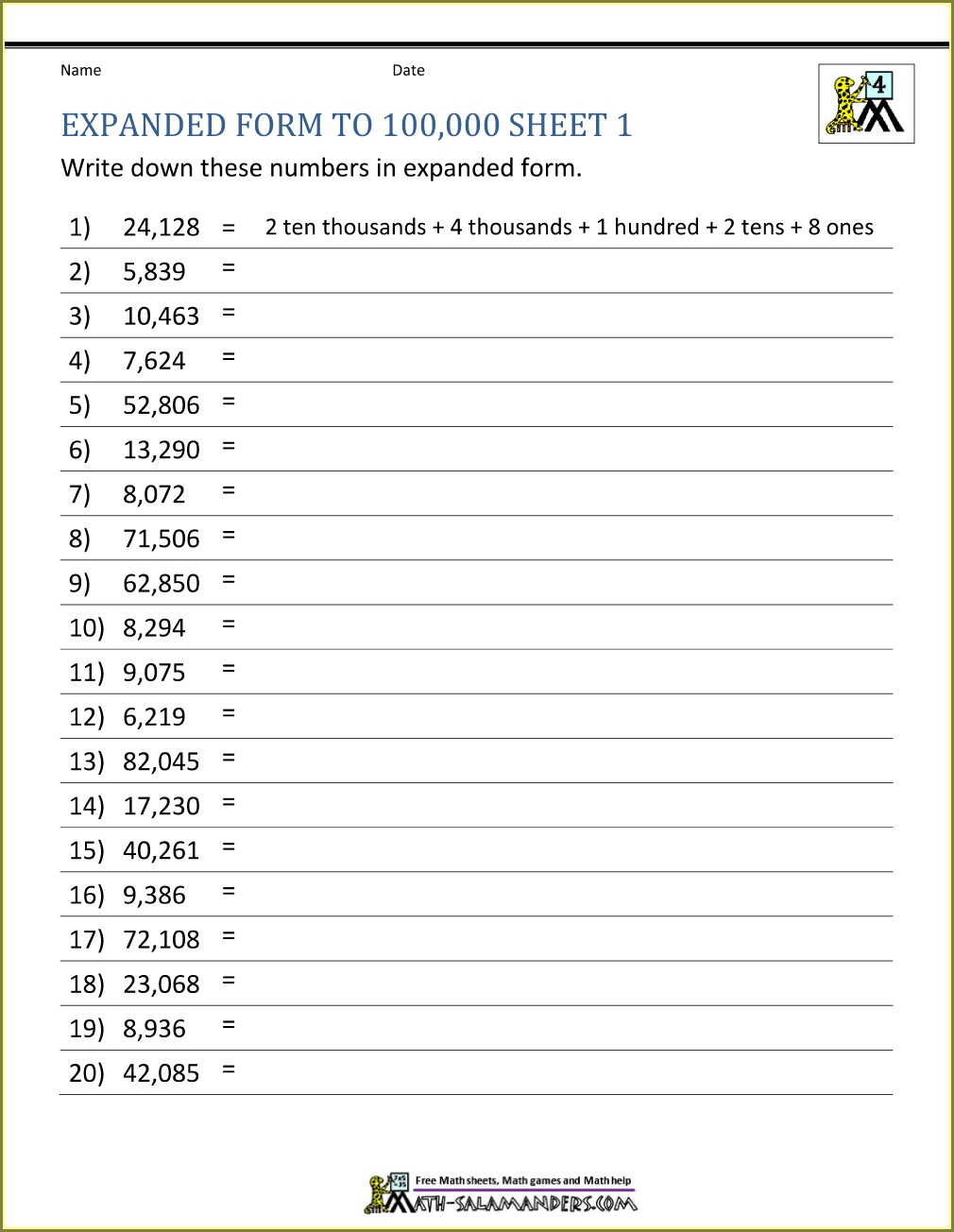 Writing Numbers Worksheet For Grade 2