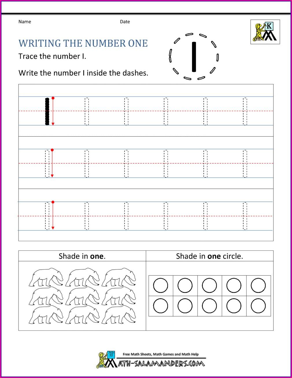 Writing Numbers Worksheet For Nursery