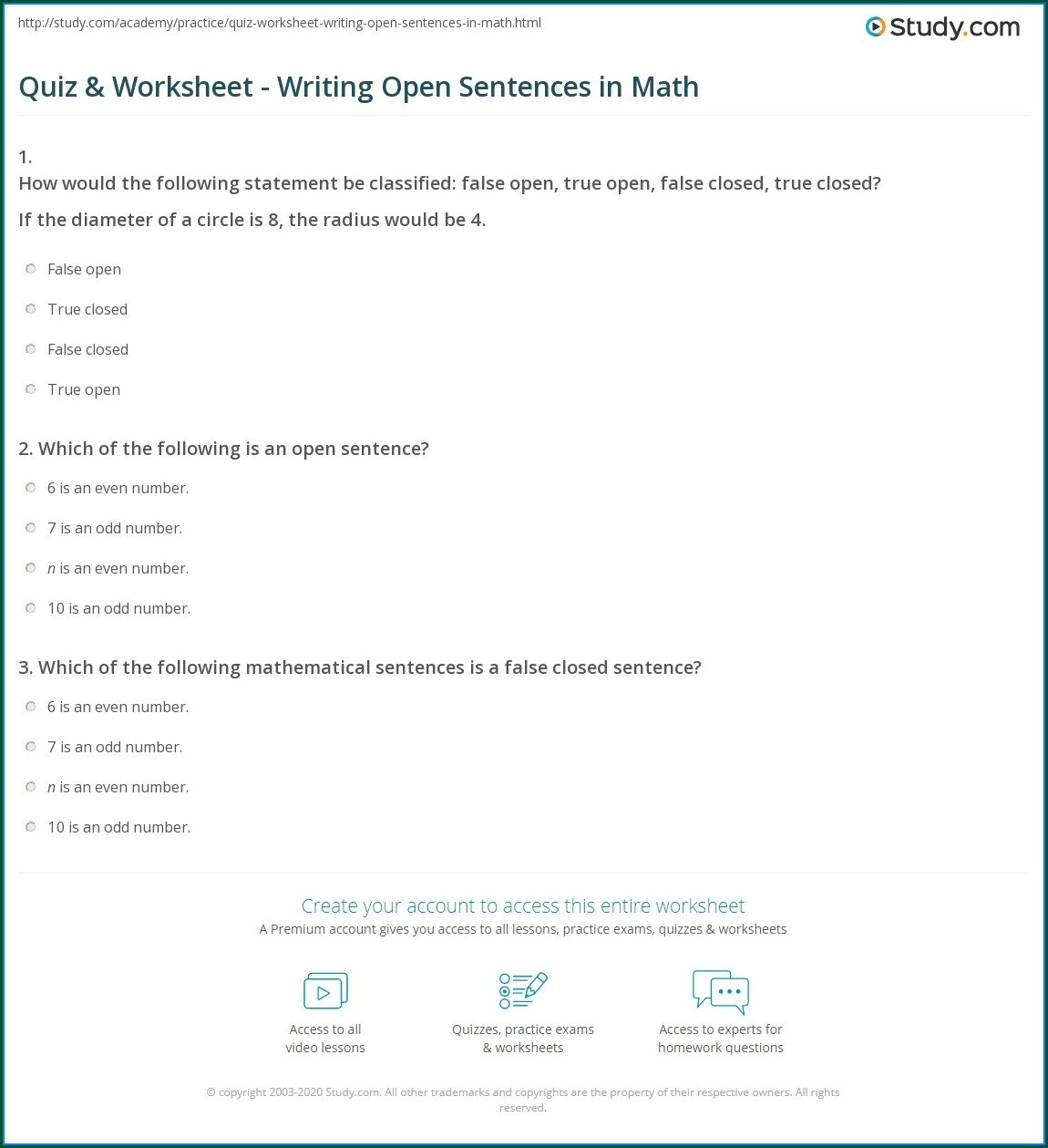 Writing Sentences As Equations Worksheet 1