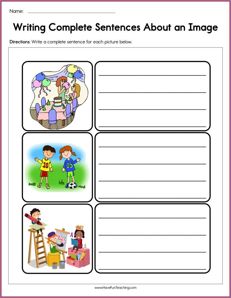 Writing Sentences Using Pictures Worksheets