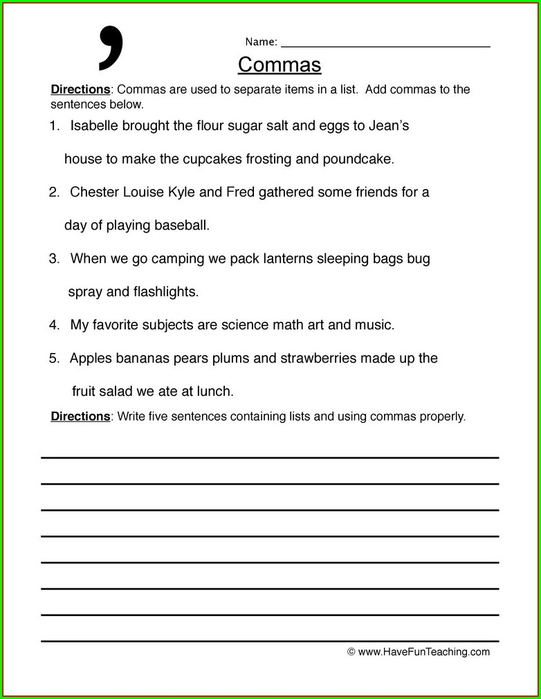 Writing Sentences With Commas Worksheets