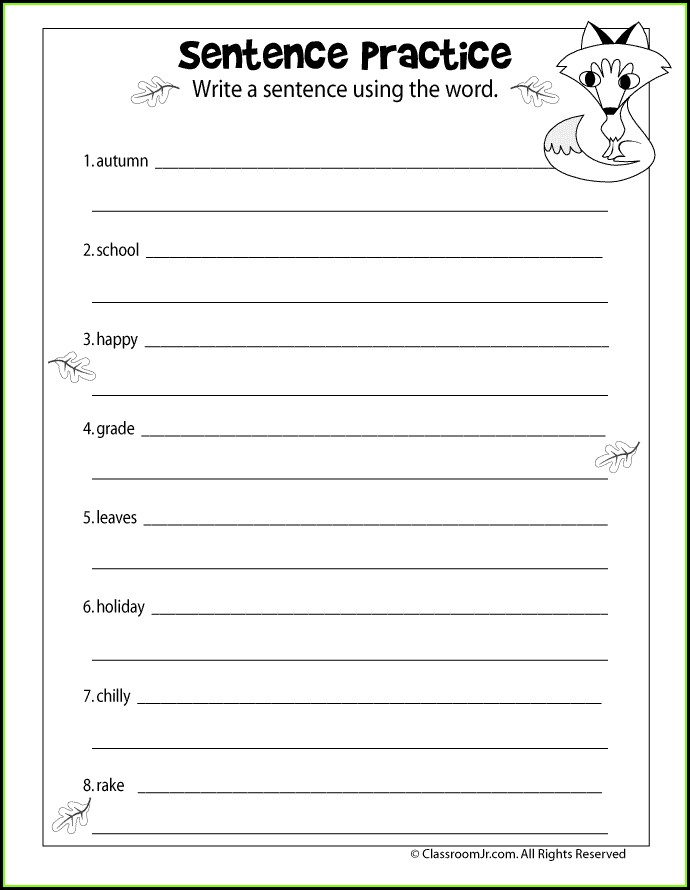 Writing Sentences Worksheets For 3rd Grade