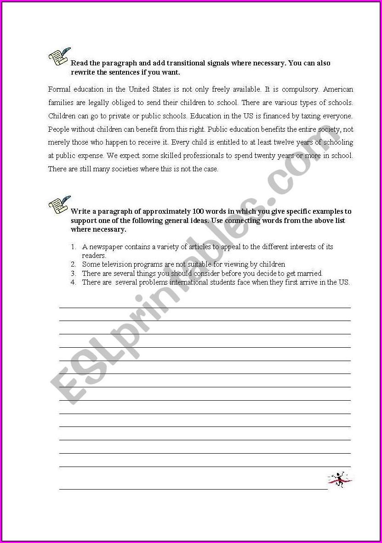Writing Transition Sentences Worksheet