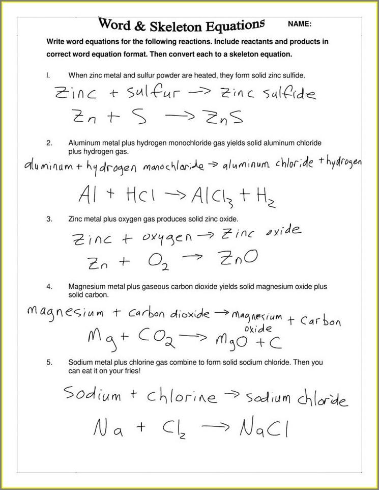 Writing Word Equations Worksheet
